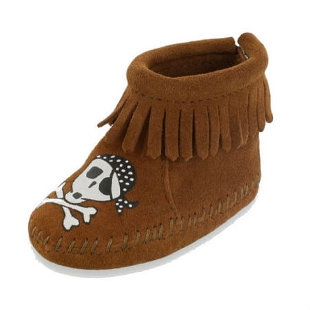 Minnetonka Moccasins 1182S - Free Range Mama - Sail Into The Mystic - Infant's Riley Bootie - Brown Suede