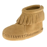 Minnetonka Moccasins 1187 - Infants Back Flap Bootie - Tan Suede