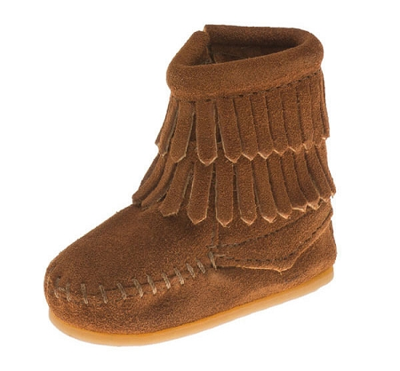Minnetonka Moccasins 1292 - Infants Double Fringe Bootie - Brown Suede