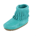 Minnetonka Moccasins 1296 - Infants Double Fringe Bootie - Turquoise Suede