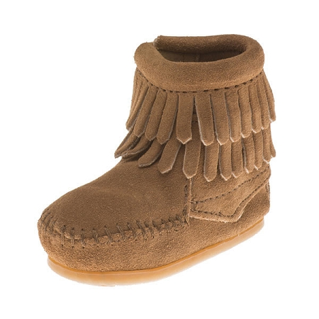 Minnetonka Moccasins 1297T - Infants Double Fringe Bootie - Taupe Suede