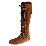 Minnetonka Moccasins 1422 - Women's Knee High Boot - Hardsole - Brown Suede