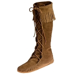 Minnetonka Moccasins 1428 - Women's Knee High Boot - Hardsole - Dusty Brown Suede