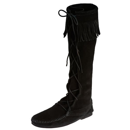 Minnetonka Moccasins 1429 - Women's Knee High Boot - Hardsole - Black Suede