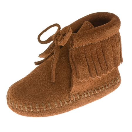 Minnetonka Moccasins 1482 - Infants Fringe Bootie - Brown Suede