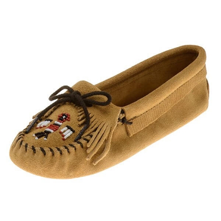 Minnetonka Moccasins 151 - Women's Softsole Thunderbird Moccasin - Tan Suede