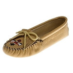 Minnetonka Moccasins 156 - Women's Softsole Thunderbird Moccasin - Smooth Natural Leather