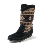 Minnetonka Moccasins 1570 - Women's Baja Boot - Black Suede with Patterned Shaft