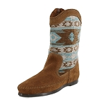Minnetonka Moccasins 1578 - Women's Baja Boot - Dusty Brown Suede with Turquoise Patterned Shaft
