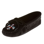 Minnetonka Moccasins 159 - Women's Softsole Thunderbird Moccasin - Black Suede