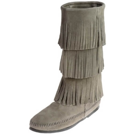 Minnetonka Moccasins 1631T - Women's 3 Layer Fringe Calf High Boot - Grey Suede