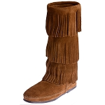 Minnetonka Moccasins 1632 - Women's 3 Layer Fringe Calf High Boot - Brown Suede