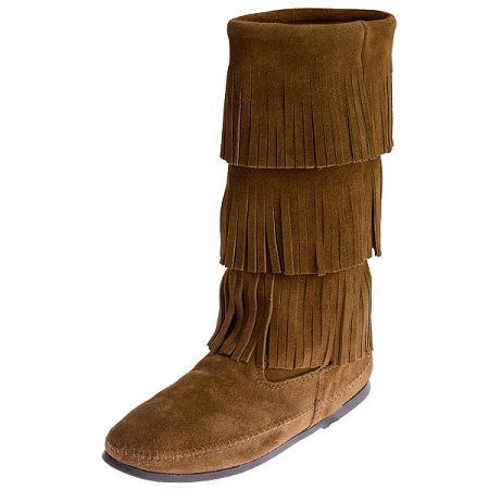 Minnetonka Moccasins 1638 - Women's 3 Layer Calf High Fringe Boot - Dusty Brown Suede
