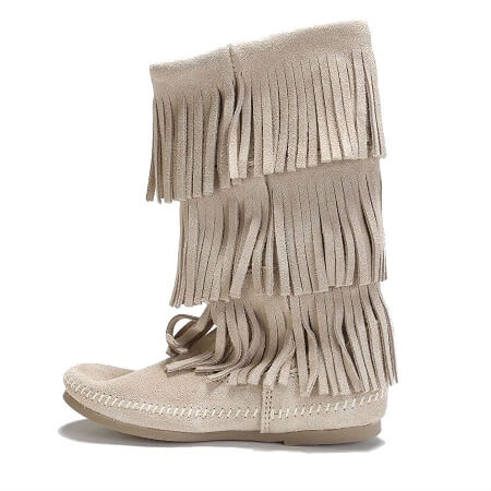 Minnetonka Moccasins 1638T - Women's 3 Layer Fringe Calf High Boot - Stone Suede
