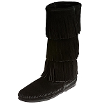 Minnetonka Moccasins 1639 - Women's 3 Layer Fringe Calf High Boot - Black Suede