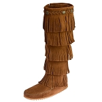 Minnetonka Moccasins 1652 - Women's 5 Layer Fringe Boot - Brown Suede