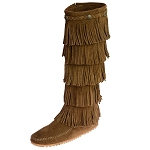Minnetonka Moccasins 1658 - Women's 5 Layer Fringe Boot -  Dusty Brown Suede