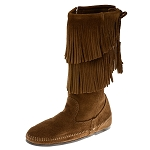 Minnetonka Moccasins 1688 - Women's Calf High 2 Layer Fringe Boot - Dusty Brown Suede