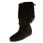 Minnetonka Moccasins 1689 - Women's Calf High 2 Layer Fringe Boot - Black Suede