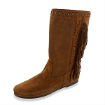 Minnetonka Moccasins 1692 - Women's Luna Fringe Boot - Brown Suede