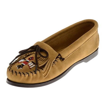 Minnetonka Moccasins 177 - Women's Thunderbird Boat Sole Moccasin - Tan Suede