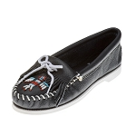 Minnetonka Moccasins 179 - Women's Thunderbird Boat Sole Moccasin - Navy Smooth Leather