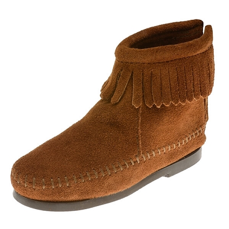 Minnetonka Moccasins 2282 - Childrens Ankle Boot - Back Zipper - Brown Suede