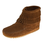 Minnetonka Moccasins 2292 - Childrens Double Fringe Ankle Boot - Brown Suede