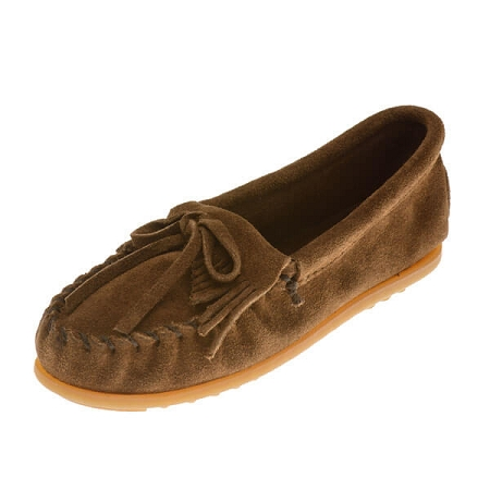 Minnetonka Moccasins 2403 - Childrens Kilty Moccasin - Dusty Brown Suede