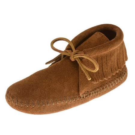 Minnetonka Moccasins 2482 - Childrens Softsole Fringe Boot - Brown Suede