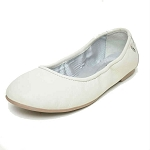 Minnetonka Moccasins 254 - Women's Anna Flats - White Leather