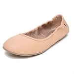 Minnetonka Moccasins 256 - Women's Anna Flats - Blush Leather