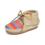 Minnetonka Moccasins 2588K - Childrens Hardsole Frisco Boot - Stone Suede