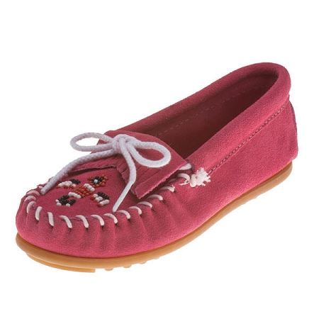 Minnetonka Moccasins 2605 - Childrens Thunderbird Moccasin - Hot Pink Suede