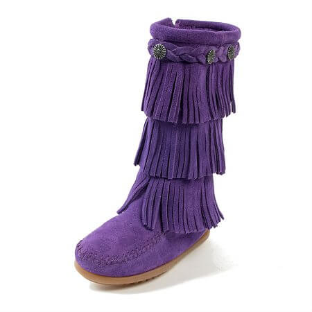 Minnetonka Moccasins 2654S - Children's 3 Layer Fringe Boot - Purple Suede
