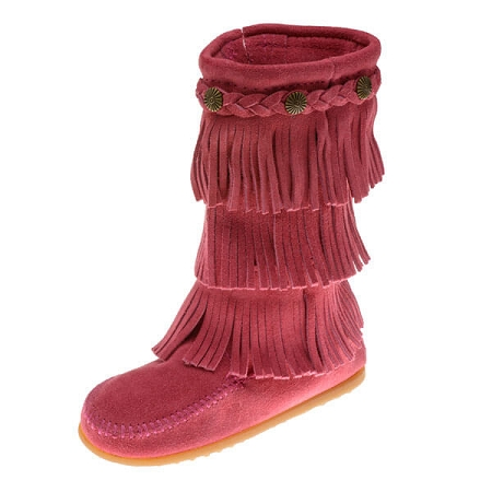 Minnetonka Moccasins 2655 - Children's 3 Layer Fringe Boot - Hot Pink Suede