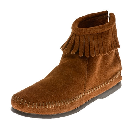 Minnetonka Moccasins 282 - Women s Hardsole Ankle Boot - Brown Suede ... 86f3ad49d0