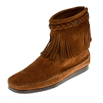 Minnetonka Moccasins 292 - Women's High Top Fringe Boot - Brown Suede