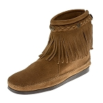 Minnetonka Moccasins 297T - Women's High Top Fringe Boot - Taupe Suede