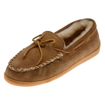 Minnetonka Moccasins 3341 - Women's Sheepskin Hardsole Moccasin - Golden Tan
