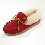 Minnetonka Moccasins 3376 - Women's Alpine Sheepskin Moccasin - Red Suede
