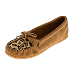 Minnetonka Moccasins 347F - Women's Leopard Print Kilty Moccasin - Taupe Suede