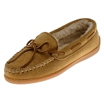 Minnetonka Moccasins 3501 - Women's Pile Lined Hardsole Moccasin - Tan Suede