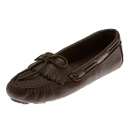 Minnetonka Moccasins 352 - Women's Moosehide Fringed Kilty Moccasin - Chocolate