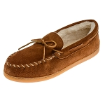 Minnetonka Moccasins 3902 - Men's Pile Lined Hardsole Moccasin - Brown Suede