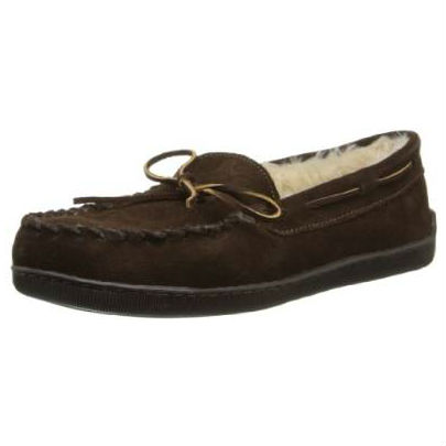 Minnetonka Moccasins 3908 - Men's Pile Lined Hardsole Moccasin - Chocolate Suede