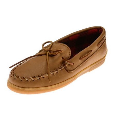 Minnetonka Moccasins 3950 - Men's Moosehide Moccasin with PolarFleece - Natural