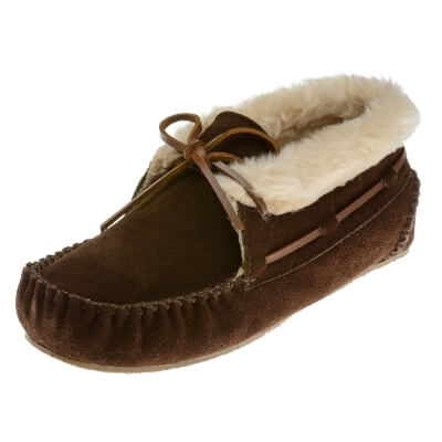 Minnetonka Moccasins 40032 - Women's Chrissy Bootie - Pile Lined Slipper - Chocolate Suede