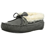 Minnetonka Moccasins 40035 - Women's Chrissy Bootie - Pile Lined Slipper - Grey Suede