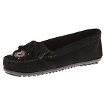 Minnetonka Moccasins 400J - Women's Me To We Moccasin - Black Suede